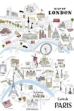 J P and I are taking a trip to the London and Paris! London Map, Paris Map, London Travel, Tourist Map Of London, Travel Maps, Travel Posters, Walking Map, Travel Illustration, London Illustration