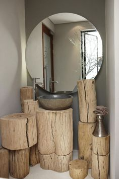 Natural Contemporary Interior Decor in an African Boutique Hotel : Beautiful Rustic Bathroom Olive Exclusive Hotel In Namibia With Circular Mirror
