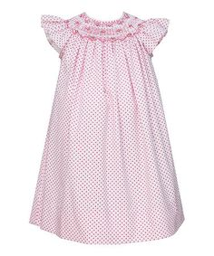 Another great find on #zulily! Pink & White Floral Angel-Sleeve Dress - Infant, Toddler & Girls #zulilyfinds