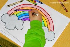 Kid Color Pages for St. Patrick's Day rainbow