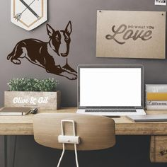 Dog Decal Bull Terrier Brother, Vinyl Sticker Decal - Good for Walls, Cars, Ipads, Mirrors Etc by PSIAKREW on Etsy