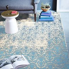 Distressed Damask Wool Rug – Blue Lagoon  #westelm