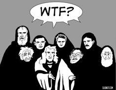 The Science Chorus Chimes In - Greek chorus Galileo Einstein Tesla Turing Curie Hawking Darwin Newton cartoon