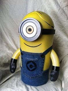 Custom Made MINION Trash Can.. My friend makes these by hand. They are awesome.