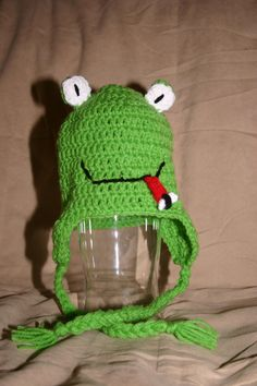 Crocheted child's frog hat.
