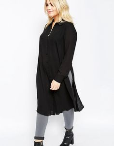 Image 3 of ASOS CURVE Long Sleeve Maxi Blouse with High Splits