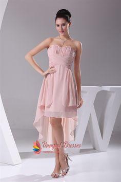 Dusty Pink Chiffon Bridesmaid Dress, High Low Homecoming Dresses 2013