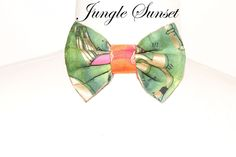 Jay Nicole's Bows Pre-tied  Cotton Red x Orange x Green Jungle Sunset Adjustable Neckband #jaynicolesbows #bowties #designerjaynicole