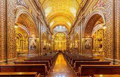 As igrejas de Quito são cobertas de ouro e belíssimos ornamentos que vão encher seus olhos de tanta beleza! Confira!