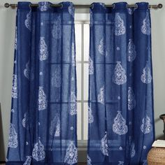 Bring breezy style to your windows with this stylish curtain, showcasing a metallic motif and dazzling blue hue.    Product: Curtai...