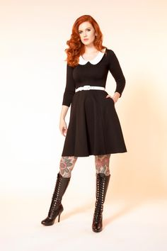 Pinup Couture Madison Long Sleeve Dress in Black | Vintage Style Dress | Pinup Girl Clothing