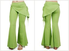 Apple Green pixie pant flared bottom of legs with by BaliWoodShop