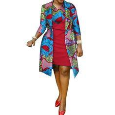 African cotton wax Print Dress and Suit Coat for Women – Afrinspiration African Print Dress Designs, African Print Dresses, African Print Fashion, African Dress, African Design, Ankara Dress, African Fabric, African Attire, African Wear