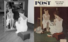 Norman Rockwell reference photos alongside finished works.