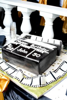 Awesome cake at a Hollywood Birthday Party!  See more party ideas at CatchMyParty.com!