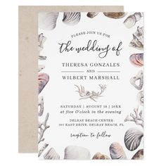 Shop Watercolor White Sea Shell Beach Bridal Shower Invitation created by OwlsomePaperie. Wedding Invitations With Pictures, Summer Wedding Invitations, Engagement Party Invitations, Wedding Stationery, Vow Renewal Invitations, Couples Shower Invitations, Vintage Invitations, Fall In Love Bridal Shower, Bridal Shower Rustic