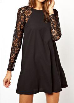 Lace Sleeves Dress Disheefashion