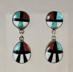 Zuni Indian Tribal Jewelry Vintage Dangle Earrings by Oldndnshop