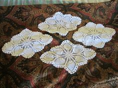 SOLD    Vintage Crochet Doiley  Oblong  White  11 by JewelsOfHighElegance, $10.00