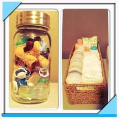 A giant Mason jar for pacifier storage and a diaper changing basket!