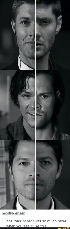 "Why does ""The Road So Far"" have to hurt so much Wow, all hope and wonder is gone from their eyes.Supernatural Dean and Castiel and Sam Sam Winchester, Winchester Brothers, Supernatural Series, Supernatural Destiel, Castiel, Supernatural Wallpaper, Jared Padalecki, Misha Collins, Super Natural"