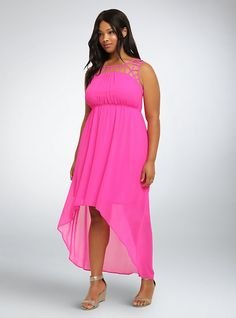Lattice Inset Hi-Lo Maxi Dress, NEON FUCHSIA