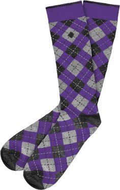 Purple Black Argyle Socks