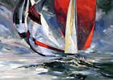Running Home.....  Arnold Art featured artist Willard Bond: Racing sailing yacht art
