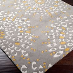 Naya Blossom Tufted Wool Rug from @Zinc_Door #zincdoor #colorcrave #yellow #gray