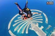 Tandem skydives in the Middle East with the best view of the Dubai skyline and the Palm. Tandem Jump, Skydiving, 30th Birthday, Palms, Nice View, Middle East, Places To See, Dubai, Skyline