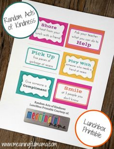 Random Acts of Kindness Free Lunchbox Printable #lunchingawesome #ad