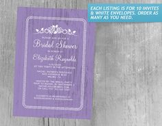 Lavender Vintage Barn Wood Bridal Shower Invitations