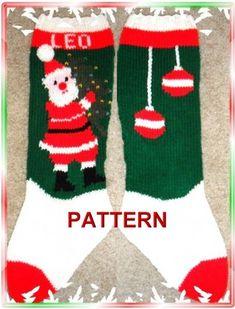 Santa And Tree Christmas Stocking Knitting Pattern | TheLoopyKnitter - Patterns on ArtFire