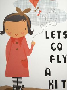 Girl with kite Print Poster by littleteawagon on Etsy
