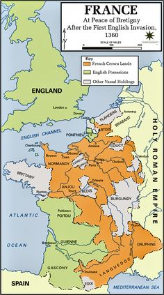 Map of France, 1360. Mystery of History Volume 2, Lesson 75 #MOHII75