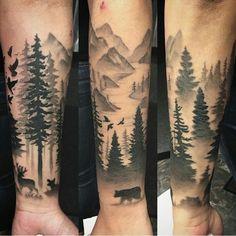 Wald Tattoo: symbolische Bedeutung + attraktive Designideen – Haus Dekoration Mehr – small tattoo with meaning Forest Tattoo Sleeve, Forest Tattoos, Forest Forearm Tattoo, Tattoo Forearm, Tree Leg Tattoo, Family Sleeve Tattoo, Animal Sleeve Tattoo, Tattoo Animal, Natur Tattoo Arm