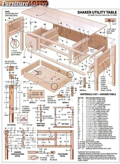 Shaker Utility Table Plans - Furniture Plans