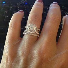 14K White Gold Finish Round Cut Diamond Women's Wedding Bridal Ring Set 1.40 CT #beijojewels