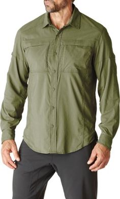 The men's REI Sahara Tech Long-Sleeve Shirt provides comfort, ventilation and adjustable coverage for hiking in warm climates. Available at REI, 100% Satisfaction Guaranteed.