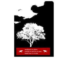 Sandpiper Haiku Verse Poetry Art Black White by GrayWolfGallery
