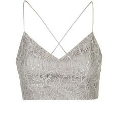 TOPSHOP Lace Lurex Bralet ($20) ❤ liked on Polyvore featuring tops, shirts, crop top, bralet, silver, lace crop top, shirt crop top, topshop tops, lacy shirts and lace bralette top