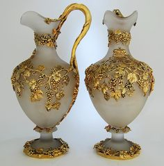 This pair of frosted glass and silver gilt claret jugs rank amongst the finest made during the reign of Queen Victoria.