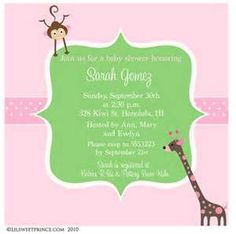 pink and green baby shower invitations - Bing Images