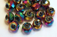 20 10 mm Faceted Crystal Rondelle Beads, Metallic Rainbow, Special Effects by ThisPurplePoppy on Etsy, $6.40 #rondelle