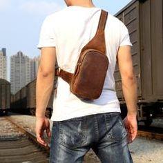 Genuine Leather Mens Cool Chest Bag Sling Bag Crossbody Bag Travel Bag Hiking Bag for men - Mens fashion - Outfits İdeas Leather Belt Bag, Leather Men, Leather Backpack, Crossbody Bags For Travel, Travel Bags, Pantone, Hiking Bag, Leather Projects, Custom Bags