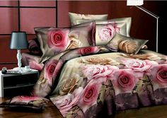 so beautiful pink rose floral flower printing queen bedding comforter quilt duvet covers sets by bedding Elegant Comforter Sets, Red Bedding Sets, 3d Bedding, Cotton Bedding Sets, Bedding Sets Online, Queen Bedding, Luxury Bedding, Romantic Purple Bedroom, Purple Bedrooms