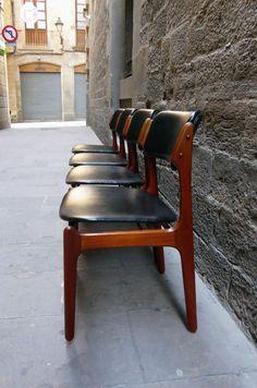 Juego de 4 sillas de diseño escandinavo de los años 60  