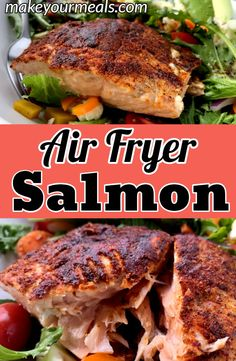 Air Fryer Salmon - the best and easiest way to make salmon. Ready to eat in just 7 minutes! fryer recipes healthy fish Air Fryer Salmon Recipe - Ready To Eat In 7 Minutes- Make Your Meals Air Frier Recipes, Air Fryer Oven Recipes, Air Fryer Dinner Recipes, Healthy Dinner Recipes, Cooking Recipes, Delicious Desserts, Healthy Dinners, Easy Recipes, Air Fryer Recipes Salmon