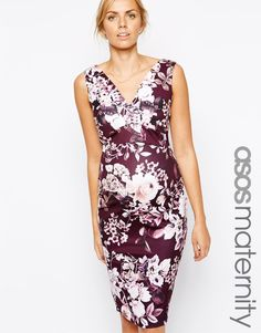ASOS Maternity Scuba Bodycon Dress in Autumnal Floral Print