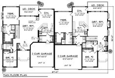 Duplex Plan chp-32565 at COOLhouseplans.com